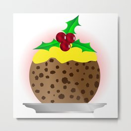 Christmas Pudding With Custard And Holly Sprig Metal Print