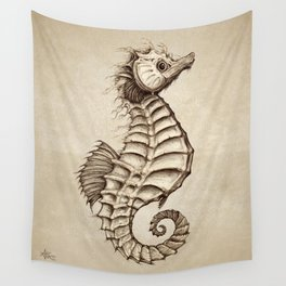 """""""Fantasy Seahorse"""" by Amber Marine ~ (Vintage) ~ Ink Illustration, (Copyright 2016) Wall Tapestry"""