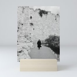 Portrait of a men walking to The Western Wall in the Old City, Jerusalem | Holy place for religious jewish people in Israel | Travel photography black and white Mini Art Print