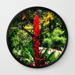 Alpinia purpurata – Red Ginger Flower, Nature in Bogota, Colombia Wall Clock