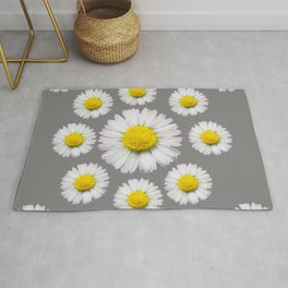 WHITE SHASTA DAISY FLOWERS  DECORATIVE GREY ART Rug