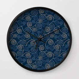 Blue and Gold Abstract Swirl Pattern Wall Clock