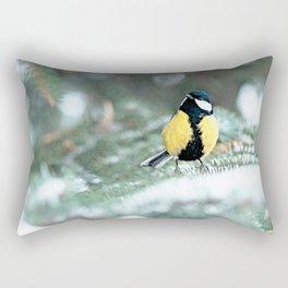 Blue Tit On Spruce Tree Rectangular Pillow