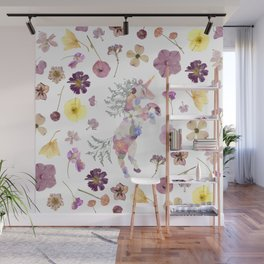 Unicorn & Florals Wall Mural