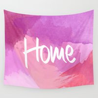 water colour Wall Tapestries featuring Water Colour Home by Ladsandstuff