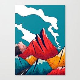 Smoke trail mountains Canvas Print