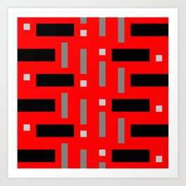 Pattern of Squares in Red Art Print