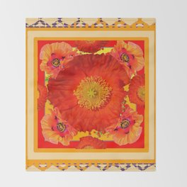 ORNATE YELLOW-RED POPPIES GARDEN  YELLOW ART Throw Blanket