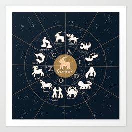 Capricorn, Zodiac, Astrology, Horoscope, Stars, Sun-and-moon. Birthday, Valentines-day, Holidays, Art Print