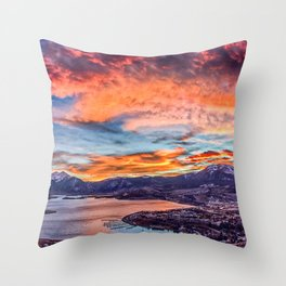 Sunset Pano // Beautiful Rocky Mountain Lake View Colorado Red Orange Sky Throw Pillow
