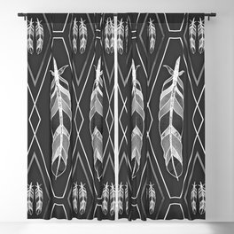 Symmetric geometric feather pattern with white diamond shapes and black background in monochrome Blackout Curtain