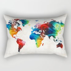 World Map 19 - Colorful Art By Sharon Cumming Rectangular Pillow