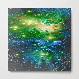Fox Fur Nebula Teal Green Metal Print