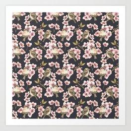 Sparrows in blossom - dark option Art Print