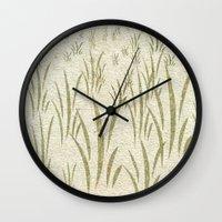 grass Wall Clocks featuring Grass by Armin