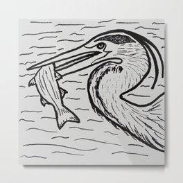 FISHING (Heron) Metal Print