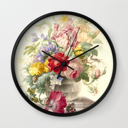"""Herman Henstenburgh """"Flowers in a Glass Vase with a Butterfly"""" Wall Clock"""