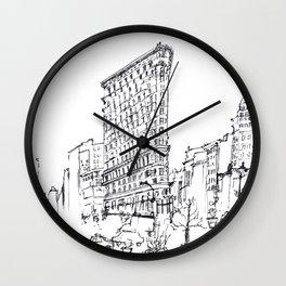 NYC Flatiron Building Sketch Wall Clock