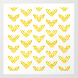 Butterfly Pattern Yellow 2 Art Print