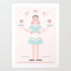 Pink Sugar Baking Girl  Art Print