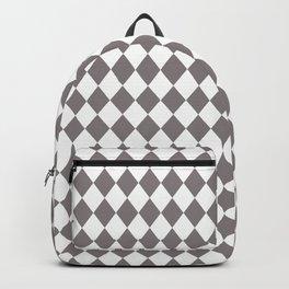 Dovecote Grey Modern Diamond Pattern on White Backpack