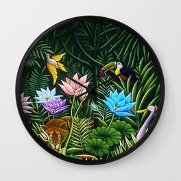 Classical Masterpiece 'Tropical Birds and Flying Things' by Henry Rousseau Wall Clock