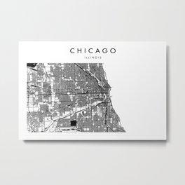 Chicago Illinois Minimal Modern Street Map Metal Print