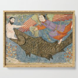 Jonah and the Whale Persian Art Serving Tray