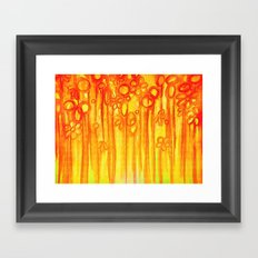SUMMER SENTIMENTS - Bright Abstract Floral Garden Bold Summer Yellow Red Orange Flowers Painting Framed Art Print