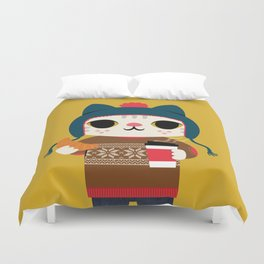 Holiday - Cat in a Sweater / Mustard Yellow Duvet Cover
