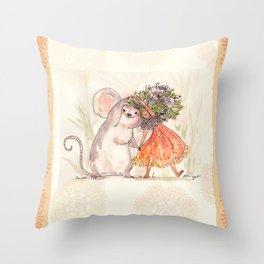 Thumbelina and the Mouse! Throw Pillow