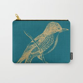 Gold bird branche on quetzal green Carry-All Pouch