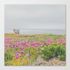 Across the flowers to the ocean Canvas Print