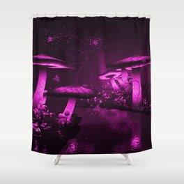 Glowing Purple  Mushrooms Shower Curtain
