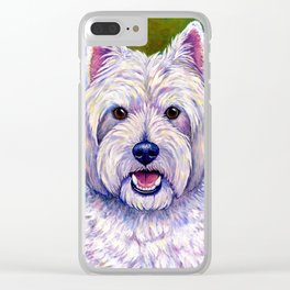 Colorful West Highland White Terrier Dog Clear iPhone Case