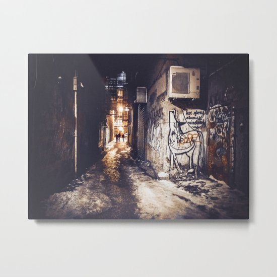 Lower East Side - Midnight Warmth on a Snowy Night Metal Print
