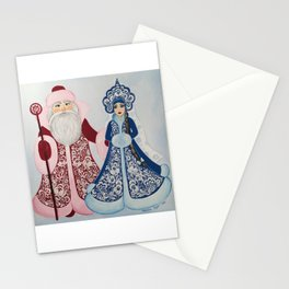 Father Frost and Snow Maiden in petrykivka style Stationery Cards