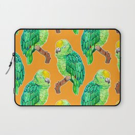 Sleepy Parrot Watercolor Pattern on Orange Laptop Sleeve