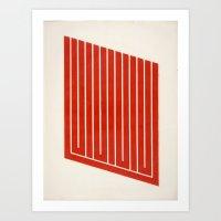 Geometric Orange Mod Frameless Art Print