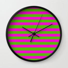 Hot Pink And Kelly Green Stripes Wall Clock