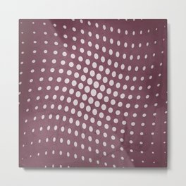 Halftone Flowing Circles in Mulberry Metal Print