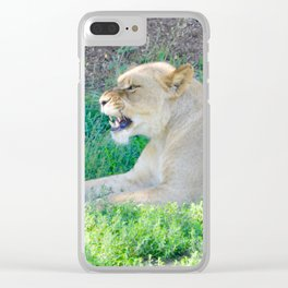 Angry Fierce Lion Clear iPhone Case