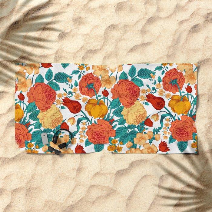 Vintage flower garden Beach Towel