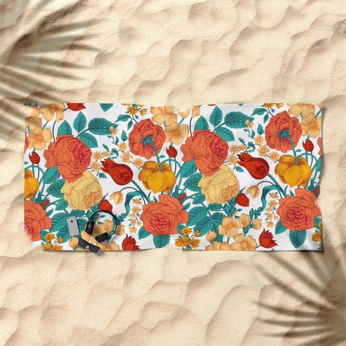 Vintage flower garden Beach Towel