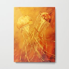 Orange Dance of the Sea Metal Print