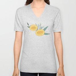 Yellow Dadylion Flowers - Black backgrund Unisex V-Neck