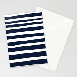 Stripes Nautical Modern Navy and White Stationery Cards