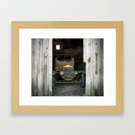 Ford Model T in a barn Framed Art Print
