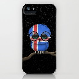 Baby Owl with Glasses and Icelandic Flag iPhone Case