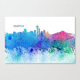 Seattle Skyline Silhouette Impressionistic Splash Canvas Print